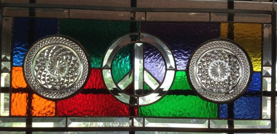 Contemporary Stained Glass Panel  Colorful Peace by PeaceLuvGlass, $180.00
