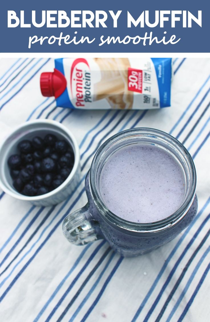 Blueberry Muffin Smoothie  • 1 Premier Protein® 11 oz. Vanilla Shake   • 1 Cup of Blueberries  • 1 tsp. of Cinnamon  • 4-6 Ice Cubes  • Blend until smooth and enjoy!