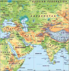 Nahost (Asien) Karte / Landkarte. Städte, Länder, Flüsse, Berge, Seen u.v.m. - politische oder physikalische Landkarte von Nahost (Asien) (Nahost (Asien))
