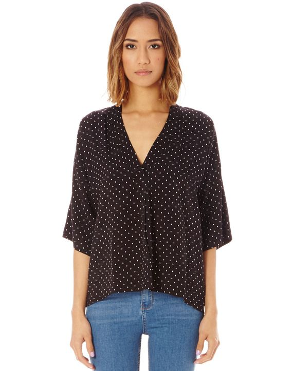 Dot 3/4 Sleeve Oversized Blouse