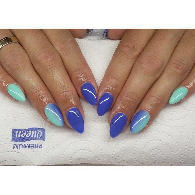 Ombre :) #semilac #diamondcosmetics #ilovesemilac #nailart #nails #hybryda #hybrid #manicure #mani #ombre #instanails #indigo #adriatic #mint  #paznokcie