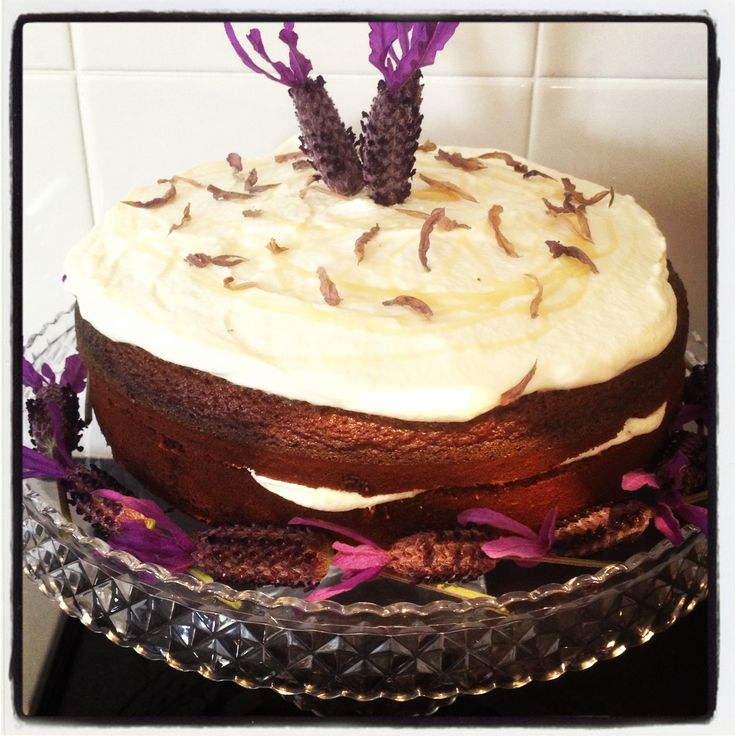 Moist honey and earl grey tea cake with cream and lavender