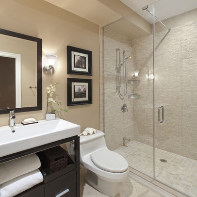 simple small bathroom idea-favorite w/ shower;love paint color, mirror, over toilet idea, everything