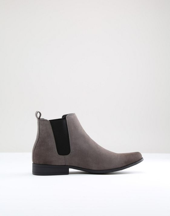 1f22f282843 DESIGN Wide Fit chelsea boots in gray faux suede