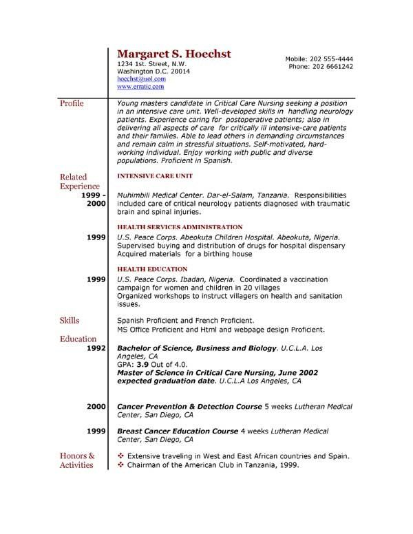 11 best College student resume images on Pinterest Resume format - free sample of resume