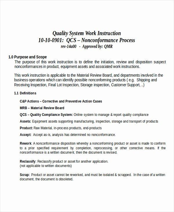 Iso 9001 Work Instruction Template New 30 Of Iso Work Instruction Template Free Templates Instruction Words