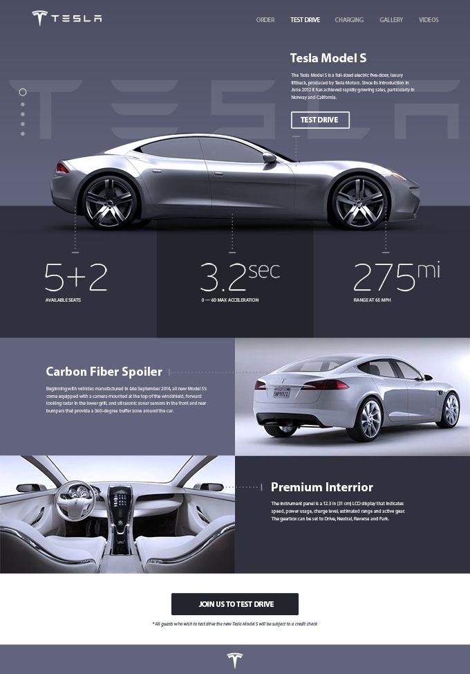 Бесплатный PSD шаблон с Tesla Model S