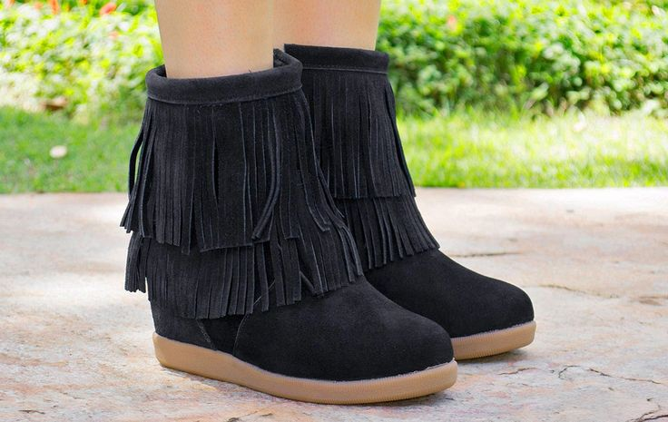 Taquilla - Bota de franjas preta com salto embutido (sneaker) Taquilla - Loja online de sapatos femininos