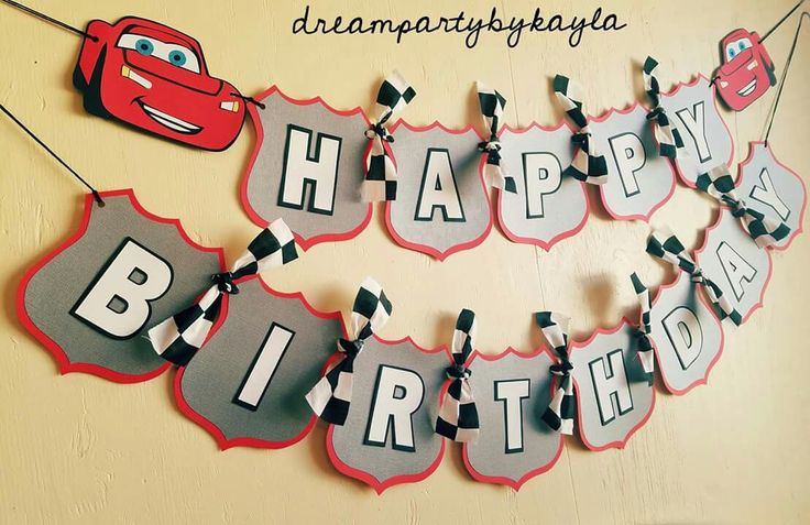 Cars themed Happy Birthday Banner