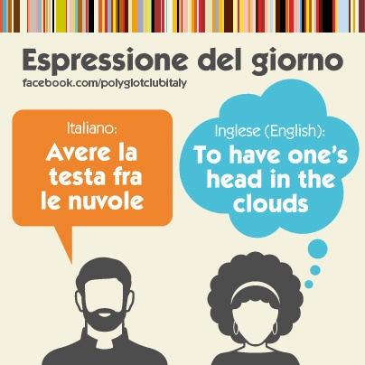 Italian / English idiom: to have one's head in the clouds
