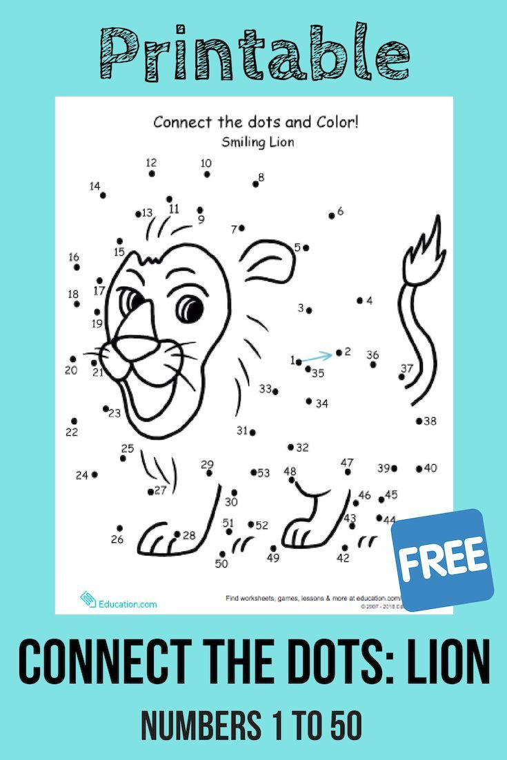 medium resolution of Connect the dots from 1 to 50 to complete the picture of the friendly lion.  #numbersense #numeracy #cou…   Connect the dots