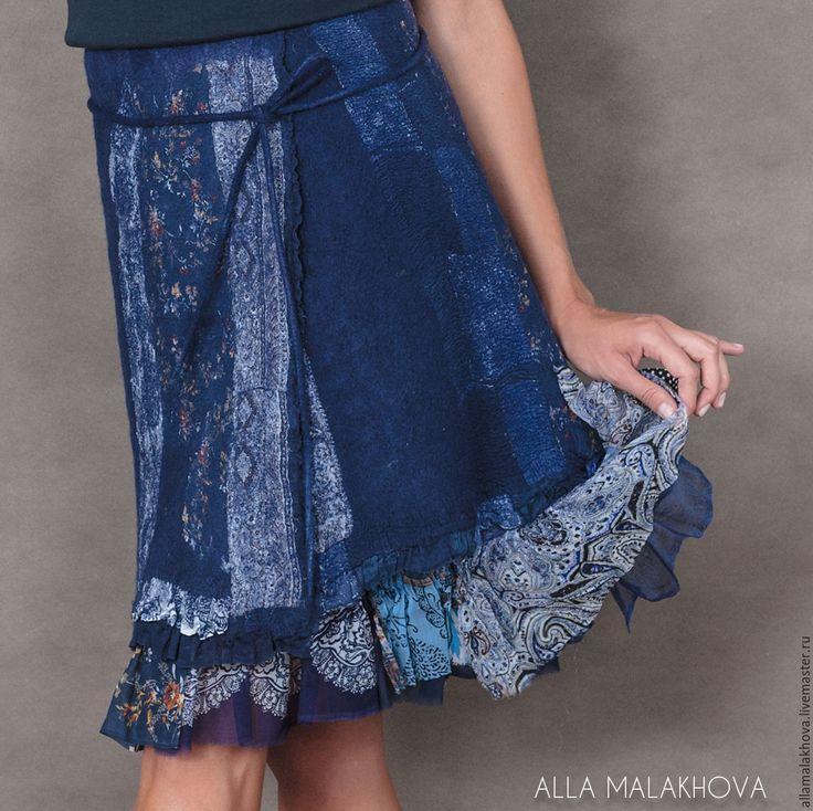 Купить Валяная юбка Космос - тёмно-синий, синий, валяная юбка, юбка с запАхом