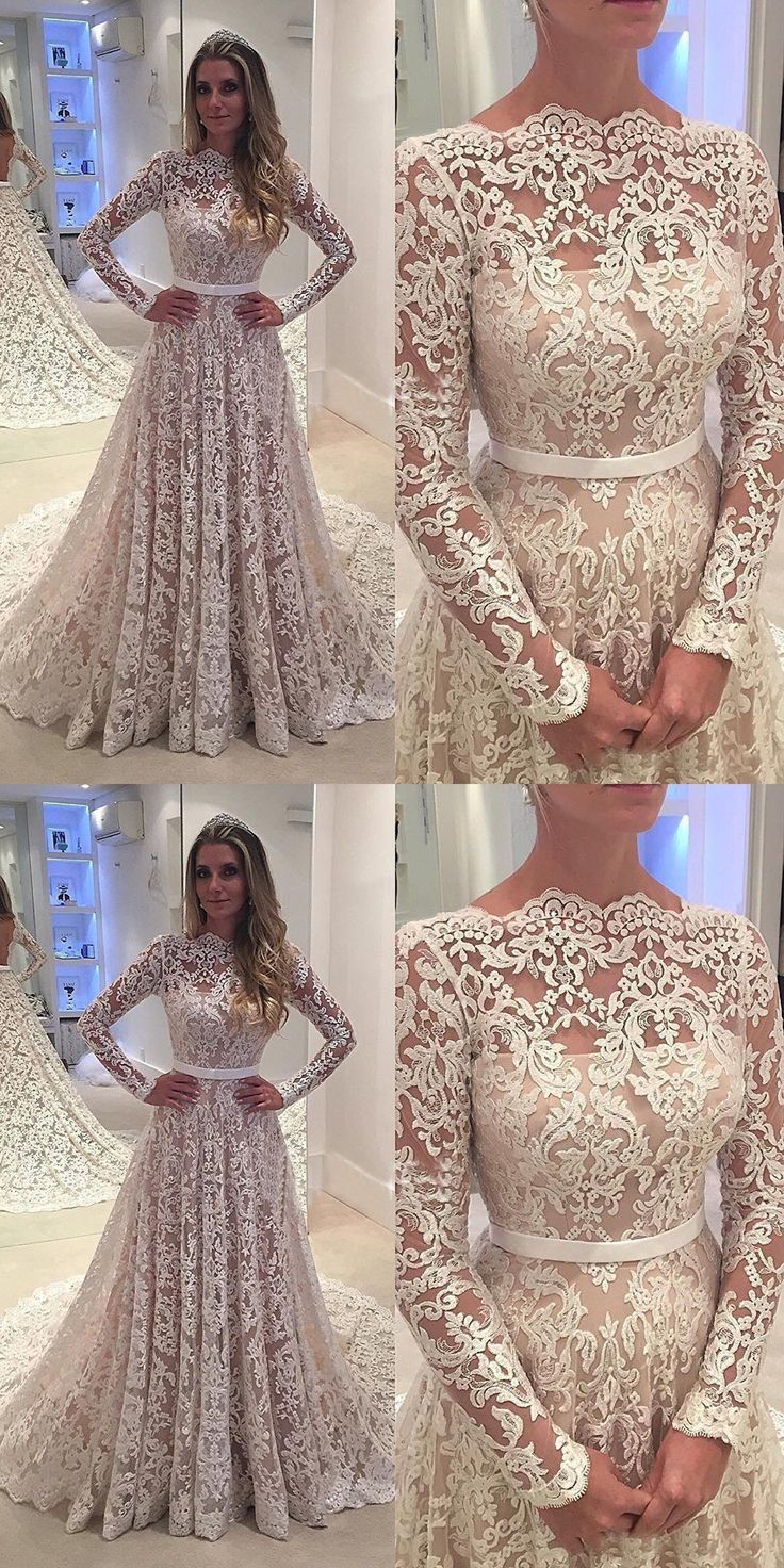 wedding dresses, lace wedding dresses with court train, elegant wedding dresses
