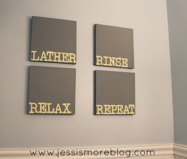 Bathroom Canvass Art: Lather. Rinse. Relax Repeat. #diy