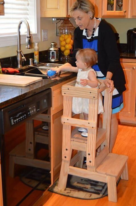 Kids Kitchen Helper Step Stool Montessori Inspired. Solid Wood #Custom