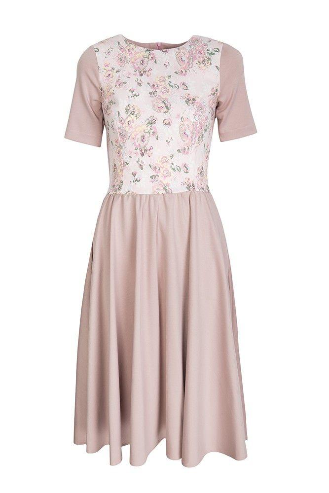 Sukienka Pudrowa z kwiatowym przodem | Kasia Miciak design | SHOWROOM