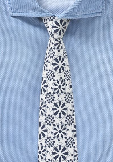 Moderne Baumwoll-Krawatte weiß/nachtblau