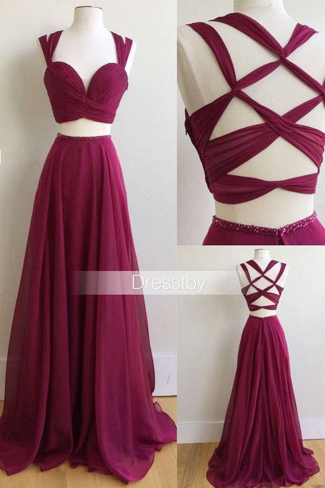 Unique two pieces burgundy prom dress, burgundy evening dress