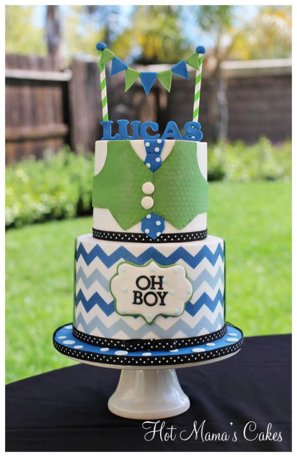Green & Blue Chevron and Suit Little Man Cake with Bunting Topper (Lucas)  LOVE!