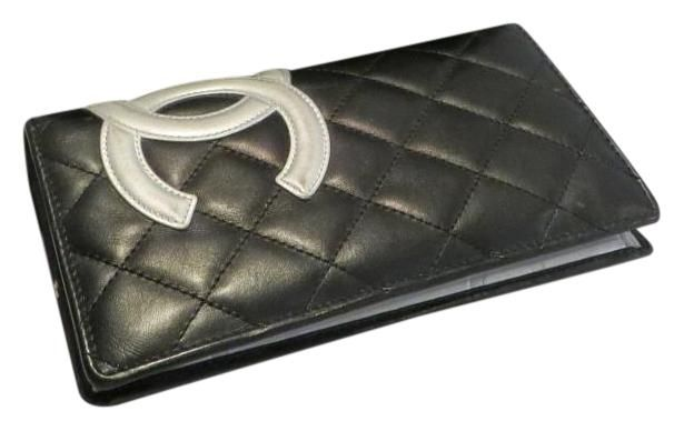 Chanel Black and Silver Quilted Leather Cambon Bifold Wallet. Free shipping and…