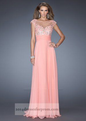 Coral Long Iridescent Stones Cap Sleeves Prom Dresses