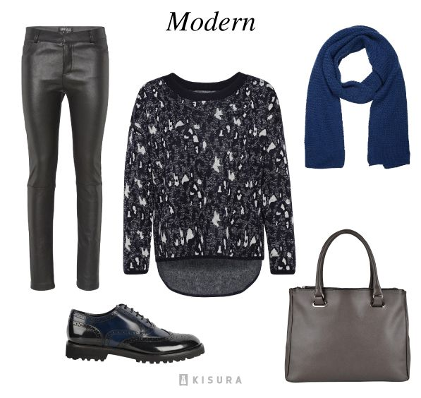 Gemusterter Pullover, schwarze Lederhose, schwarze Budapester, graue Tasche, blauer Schal // patterned pullover, black leather pants, black budapester, grey bag, blue scarf
