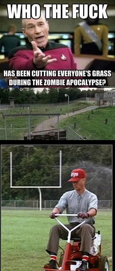 Cutting the grass during the zombie apocalypse and Forrest ...