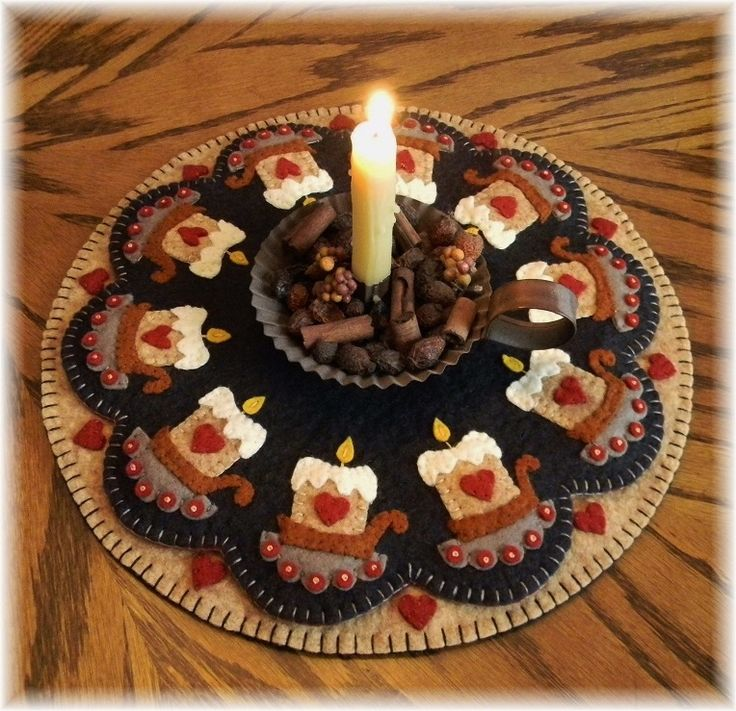 Prim Candles Wool Applique Candle Mat Penny Rugs