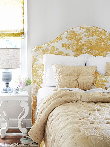 yellow toile headboard: Guest Bedrooms, Toile Headboards,  Comforter, Gold Bedrooms, Rooms Ideas,  Puff, Historical Bedrooms, Pottery Barn, Bedrooms Yellow