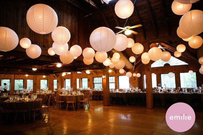 different size lanterns in wedding colors