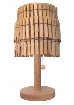 Peggy Sue table lamp has a lampshade made from wooden clothes pegs, a hand turned base and pull cord. Requires assembly of shade. £115