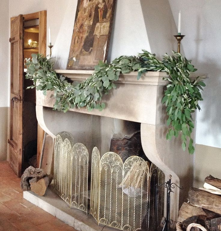 The Fireplace with olive garland