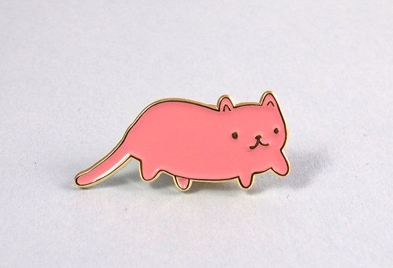 Pink Cat enamel lapel pin - Cat pin Created from my original illustration of a little pink cat, these super cute enamel pins are perfect for any