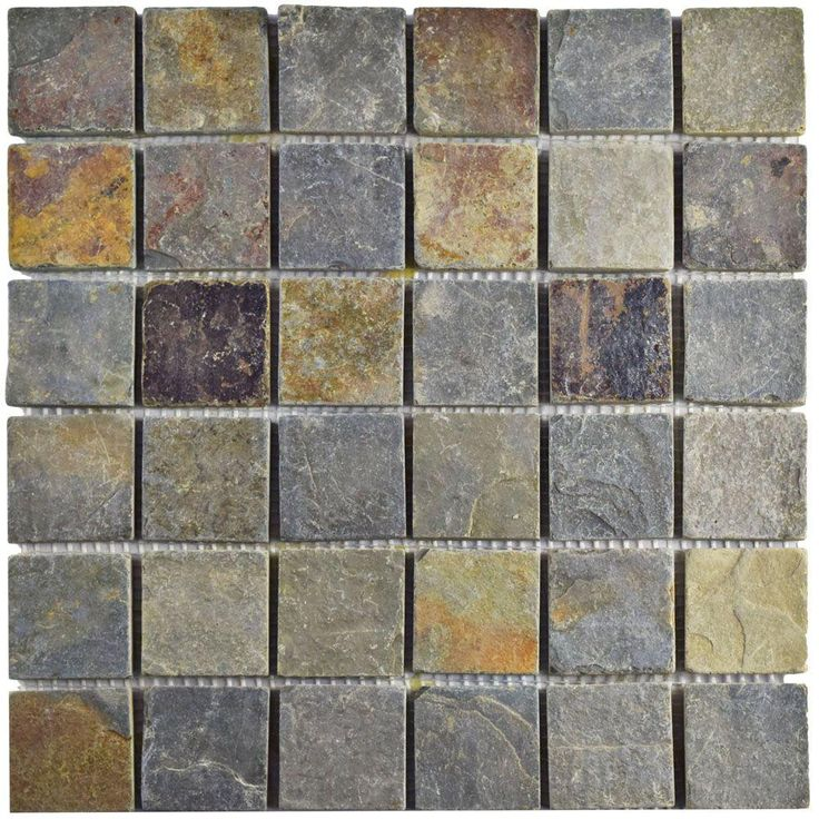 Merola Tile Crag Quad Sunset Slate 12 in x 12 in x 13 mm Natural Stone Mosaic Tile Multicolored Brown And Grey Low Sheen - Slate Mosaic Tile