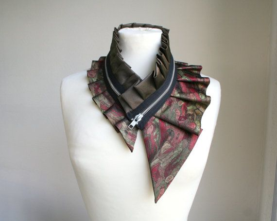 Silk collar necklace with zipper eco fashion women's by Bartinki