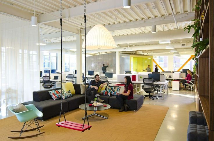 8 Really REALLY Cool Offices You I mean, Come on! There's a swing in the office! Now a photo of a swing, no, an actual swing! How those people sat on the chair on not pushing each other on that swing is beyond me! Also colour! I love colours!