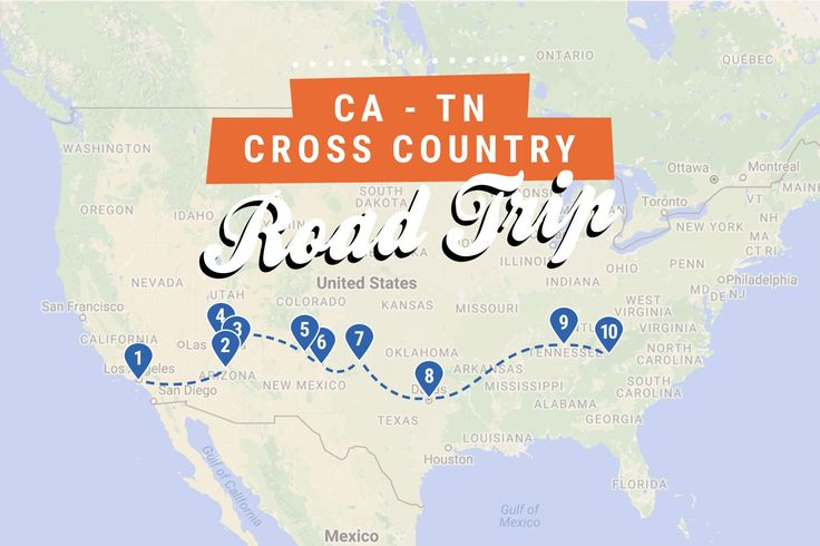 California to Tennessee cross country road trip map