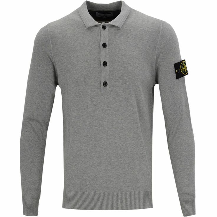 Stone Island Knitted Long Sleeve Polo - Light Grey - Light Grey