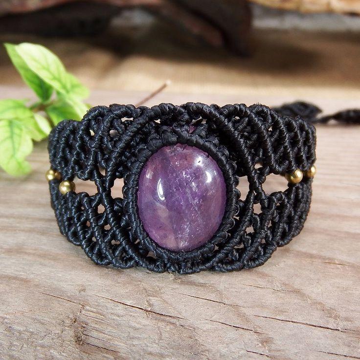 Macrame Bracelet Shamballa Cabochon Amethyst Stone Waxed Cord Handmade Handwoven #Handmade #Wrap