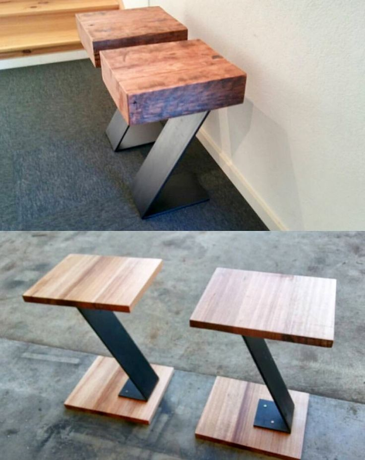 Recycled timber side tables