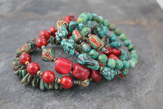 Tribal Style African Turquoise Coral & Nepalese Beads 5 Strand Memory Wire Bracelet #memorywire #fivestrand #tribalstyle #coral #africanturquoise #bohemian #nepalesebeads #artisan #artisanbracelet #oneofakind #gemstones #tribal #nepalese #redandturquoise #red #turquoise #handmade