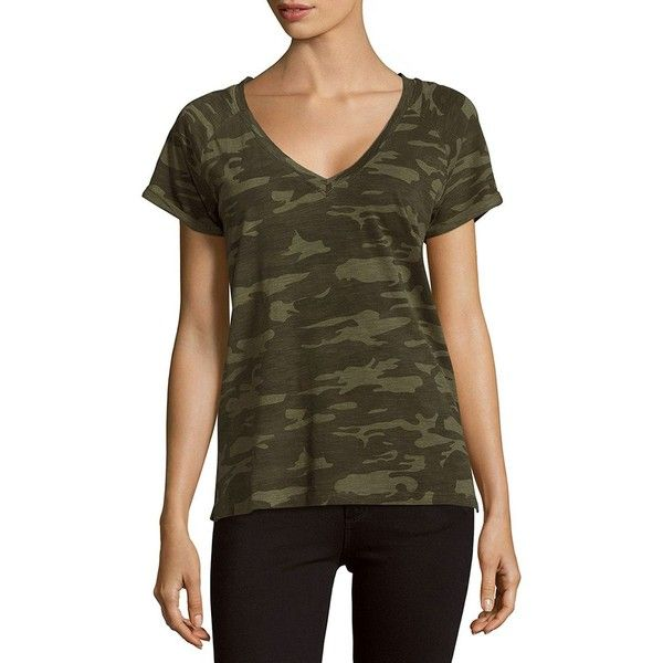Sanctuary V-Neck Camo-Print Tee ($35) ❤ liked on Polyvore featuring tops, t-shirts, brown v neck t shirt, camo tee, v-neck pullover, short sleeve v-neck tee and brown tee