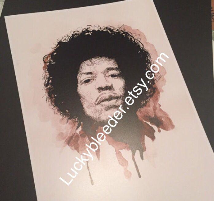 Jimi Hendrix pen and ink illustration