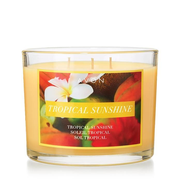 Tropical Sunshine Candle - Talk a walk on the beach! This candle gives off alluring smells of juicy peach, tropical fruits, and a heart of delicate florals. Regular $19.99 Purchase Avon candles at https://agafford.avonrepresentative.com #candles #avon #homedecor