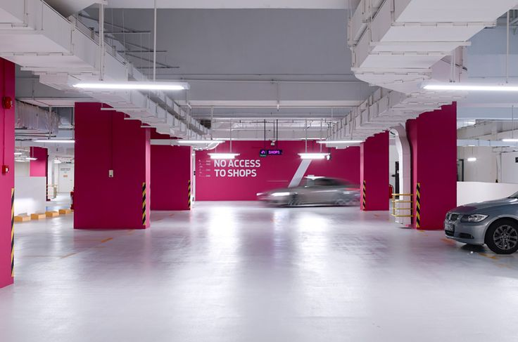 Sensational Stylish Car Park Designs: Interesting Car Park Decorating Ideas With Red Color
