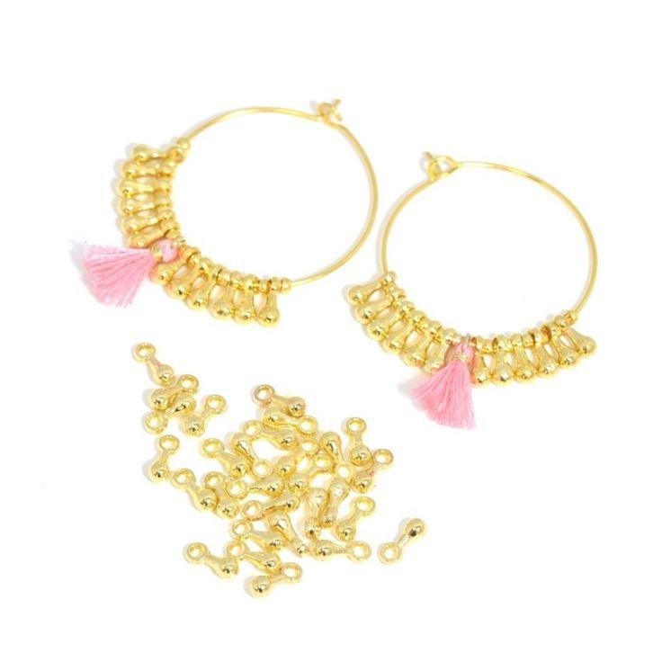 KIT Boucle d'oreilles Créoles OR - avec gouttes or et minipompon - 25 mm : Kits, tutoriels bijoux par la-mercerie-des-copines