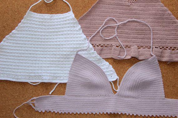 Dusky Pink Crochet Crop Top 100% Cotton Handmande by shopQuare