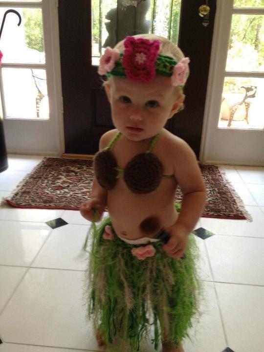 Baby Girl Or Toddler Coconut Bra Only Hawaiian Hula