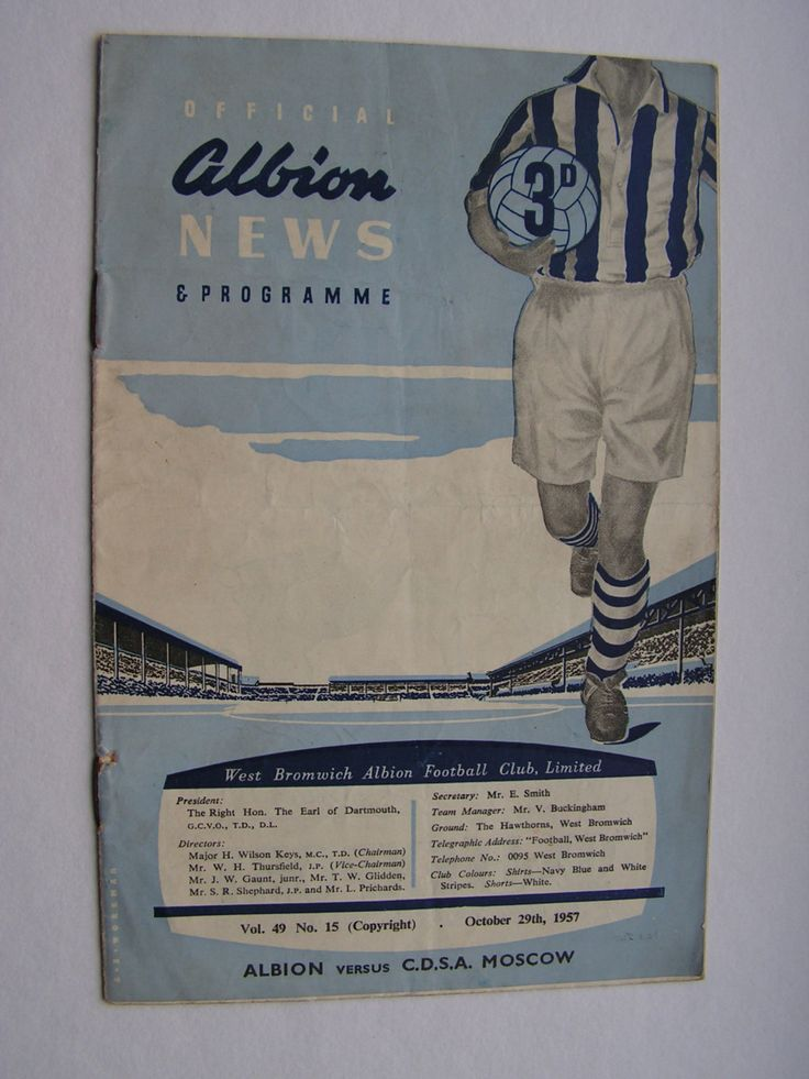 Rare Vintage 1957 West Bromwich Albion Versus C.D.S.A Moscow (Russian Army) Football Soccer Programme by VintageBlackCatz on Etsy
