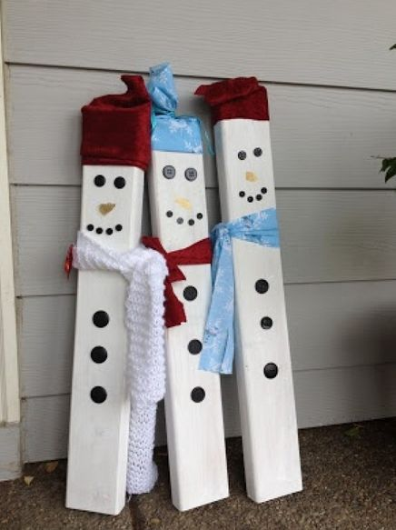 38 best things to make out of 2x4 images on pinterest christmas blocks christmas ideas and - How to make a snowman out of wood planks ...